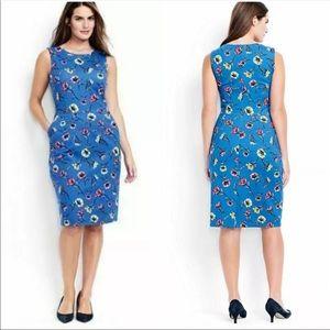 Lands End blue floral ponte sheath dress